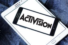 Activision company logo. Logo of Activision company on samsung mobile. Activision Publishing, Inc. is an American video game publisher Royalty Free Stock Image