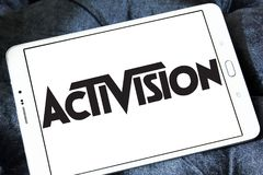 Activision company logo. Logo of Activision company on samsung tablet. Activision Publishing, Inc. is an American video game publisher Stock Photography