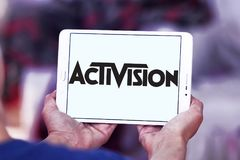 Activision company logo. Logo of Activision company on samsung tablet. Activision Publishing, Inc. is an American video game publisher Royalty Free Stock Photos