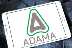 ADAMA Agricultural Solutions logo. Logo of ADAMA Agricultural Solutions on samsung tablet. ADAMA is an Israeli manufacturer and distributor of branded off patent royalty free stock image