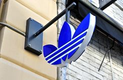 Logo of Adidas flagship store. MOSCOW, RUSSIA - MAY 02: Logo of Adidas flagship store, Moscow on May 2, 2018 Royalty Free Stock Photo
