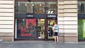 Logo of Adidas on their main store for Belgrade. Adidas is a German sportswear brand