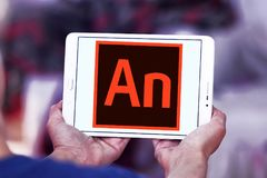 Adobe Animate software logo. Logo of Adobe Animate software on samsung tablet. Adobe Animate is a multimedia authoring and computer animation program developed royalty free stock photography
