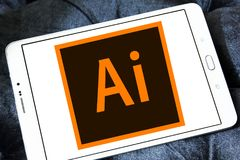 Adobe Illustrator logo. Logo of Adobe Illustrator on samsung tablet. Adobe Illustrator is a vector graphics editor developed and marketed by Adobe Systems royalty free stock photos