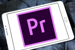Adobe Premiere Pro logo. Logo of Adobe Premiere Pro on samsung tablet. Adobe Premiere Pro is a timeline based video editing app developed by Adobe Systems and Stock Images