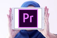 Adobe Premiere Pro logo. Logo of Adobe Premiere Pro on samsung tablet holded by arab muslim woman. Adobe Premiere Pro is a timeline based video editing app Royalty Free Stock Photo