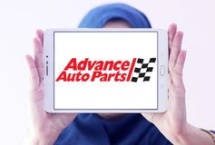 Advance Auto Parts logo. Logo of Advance Auto Parts on samsung tablet holded by arab muslim woman. Advance Auto Parts is a retailer of automotive parts and Royalty Free Stock Photo