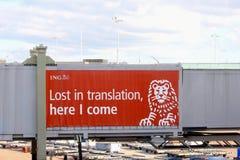 Logo advertisement ING Bank Dutch lion, Schiphol Airport, Netherlands royalty free stock photo