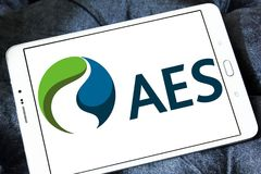 AES energy corporation logo. Logo of AES energy corporation on samsung tablet . The AES Corporation is a Fortune 200 company that generates and distributes Stock Photo