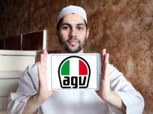 AGV helmet manufacturer logo. Logo of AGV helmet manufacturer on samsung tablet holded by arab muslim man. AGV is an Italian motorcycle helmet firm Stock Photos