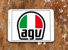 AGV helmet manufacturer logo. Logo of AGV helmet manufacturer on samsung tablet on wooden background. AGV is an Italian motorcycle helmet firm Stock Images