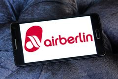 Air Berlin logo. Logo of Air Berlin on samsung mobile. Air Berlin is Germany second largest airline and Europe tenth-largest airline in terms of passengers royalty free stock photos