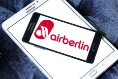 Air Berlin logo. Logo of Air Berlin on samsung mobile. Air Berlin is Germany second largest airline and Europe tenth-largest airline in terms of passengers royalty free stock images