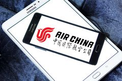 Air China logo. Logo of Air China on samsung mobile. Air China Limited is the flag carrier and one of the major airlines of the People`s Republic of China royalty free stock photos