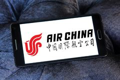 Air China logo. Logo of Air China on samsung mobile. Air China Limited is the flag carrier and one of the major airlines of the People`s Republic of China stock photos