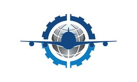 A logo for airways companies or airplane services. This logo for airways companies or airplane services consists of a plane, a globe, and four pieces of globe royalty free illustration