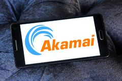 Akamai Technologies logo. Logo of Akamai Technologies on samsung mobile. Akamai Technologies, Inc. is an American content delivery network CDN and cloud services Royalty Free Stock Image