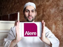 Alere health care diagnostics company logo. Logo of Alere health care diagnostics company on samsung tablet holded by arab muslim man. Alere Inc. is a global Royalty Free Stock Images