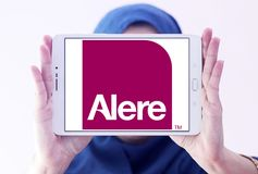 Alere health care diagnostics company logo. Logo of Alere health care diagnostics company on samsung tablet holded by arab muslim woman. Alere Inc. is a global Royalty Free Stock Photo