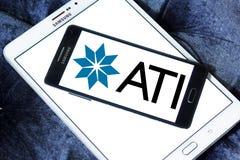 Allegheny Technologies company logo. Logo of Allegheny Technologies company on samsung mobile. Allegheny Technologies Incorporated ATI is a specialty metals Stock Photography