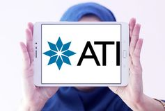 Allegheny Technologies company logo. Logo of Allegheny Technologies company on samsung tablet holded by arab muslim woman. Allegheny Technologies Incorporated Stock Photos