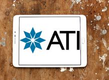 Allegheny Technologies company logo. Logo of Allegheny Technologies company on samsung tablet on wooden background. Allegheny Technologies Incorporated ATI is a Royalty Free Stock Image