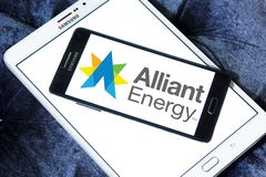 Alliant Energy logo. Logo of Alliant Energy on samsung mobile. Alliant Energy Corporation is a public utility holding company Royalty Free Stock Image