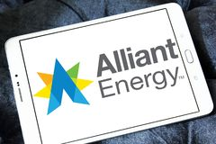 Alliant Energy logo. Logo of Alliant Energy on samsung tablet . Alliant Energy Corporation is a public utility holding company Royalty Free Stock Images