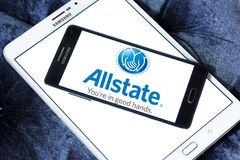 Allstate insurance company logo. Logo of Allstate insurance company on samsung mobile on samsung tablet. The Allstate Corporation is the second largest personal Stock Image