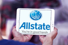 Allstate insurance company logo. Logo of Allstate insurance company on samsung tablet  . The Allstate Corporation is the second largest personal lines insurer in Royalty Free Stock Photos