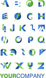 Logo alphabet. Logo and icon of alphabet, blue and green colors Royalty Free Stock Photography