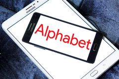 Alphabet conglomerate logo. Logo of Alphabet conglomerate company on samsung mobile. Alphabet Inc. is an American multinational conglomerate. It is now the royalty free stock images