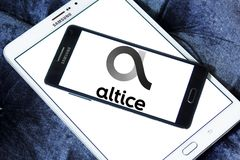 Altice telecoms company logo. Logo of Altice telecoms company on samsung mobile . Altice is multinational telecoms company Stock Images