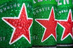 logo on aluminum cans of Heineken beer. Heineken Dutch brewing company
