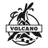 Logo américain de volcan, style simple illustration libre de droits