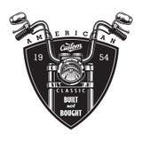 Logo américain fait sur commande de moto de vintage illustration stock