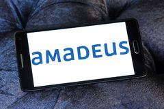 Amadeus IT Group logo. Logo of Amadeus IT Group on samsung mobile. Amadeus is a major Spanish IT Provider for the global travel and tourism industry Stock Photo