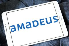 Amadeus IT Group logo. Logo of Amadeus IT Group on samsung tablet. Amadeus is a major Spanish IT Provider for the global travel and tourism industry Royalty Free Stock Photo