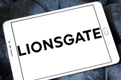 Lionsgate logo. Logo of the american lionsgate studios on samsung tablet Stock Photo
