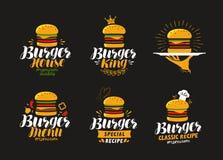 Logo americano dell'alimento Hamburger, cheeseburger, icona dell'hamburger o etichetta Illustrazione di vettore Fotografie Stock Libere da Diritti