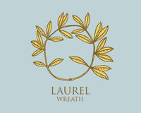 Logo of ancient Greece, antique symbol laurel wreath vintage, engraved hand drawn in sketch or wood cut style, old Stock Images