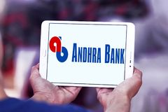 Andhra Bank logo. Logo of Andhra Bank on samsung tablet. Andhra Bank is a medium sized public sector bank PSB of India stock photography