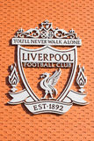 Logo in the Anfield stadium, home of Liverpool Football Club Royalty Free Stock Photo