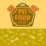 Logo with animals for pet food shop. Cat and dog Royalty Free Stock Image