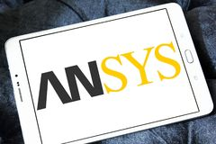 Ansys software company logo. Logo of Ansys software company on samsung tablet. It develops and markets engineering simulation software. Ansys software is used to royalty free stock photos