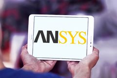 Ansys software company logo. Logo of Ansys software company on samsung tablet. It develops and markets engineering simulation software. Ansys software is used to royalty free stock images