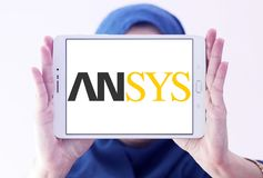 Ansys software company logo. Logo of Ansys software company on samsung tablet holded by arab muslim woman. It develops and markets engineering simulation royalty free stock image