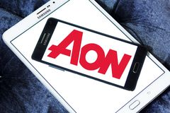 AON insurance logo. Logo of AON insurance company on samsung mobile on samsung tablet. Aon plc is a global professional services firm that provides risk Royalty Free Stock Photo
