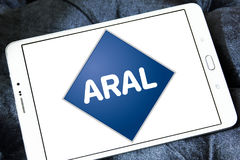 Aral oil company logo. Logo of Aral oil company on samsung tablet. Aral is a brand of automobile fuels and petrol stations, present in Germany and Luxembourg Stock Photos