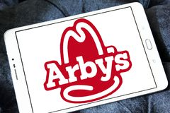 Arbys fast food logo. Logo of arbys fast food restaurants on samsung tablet Royalty Free Stock Image